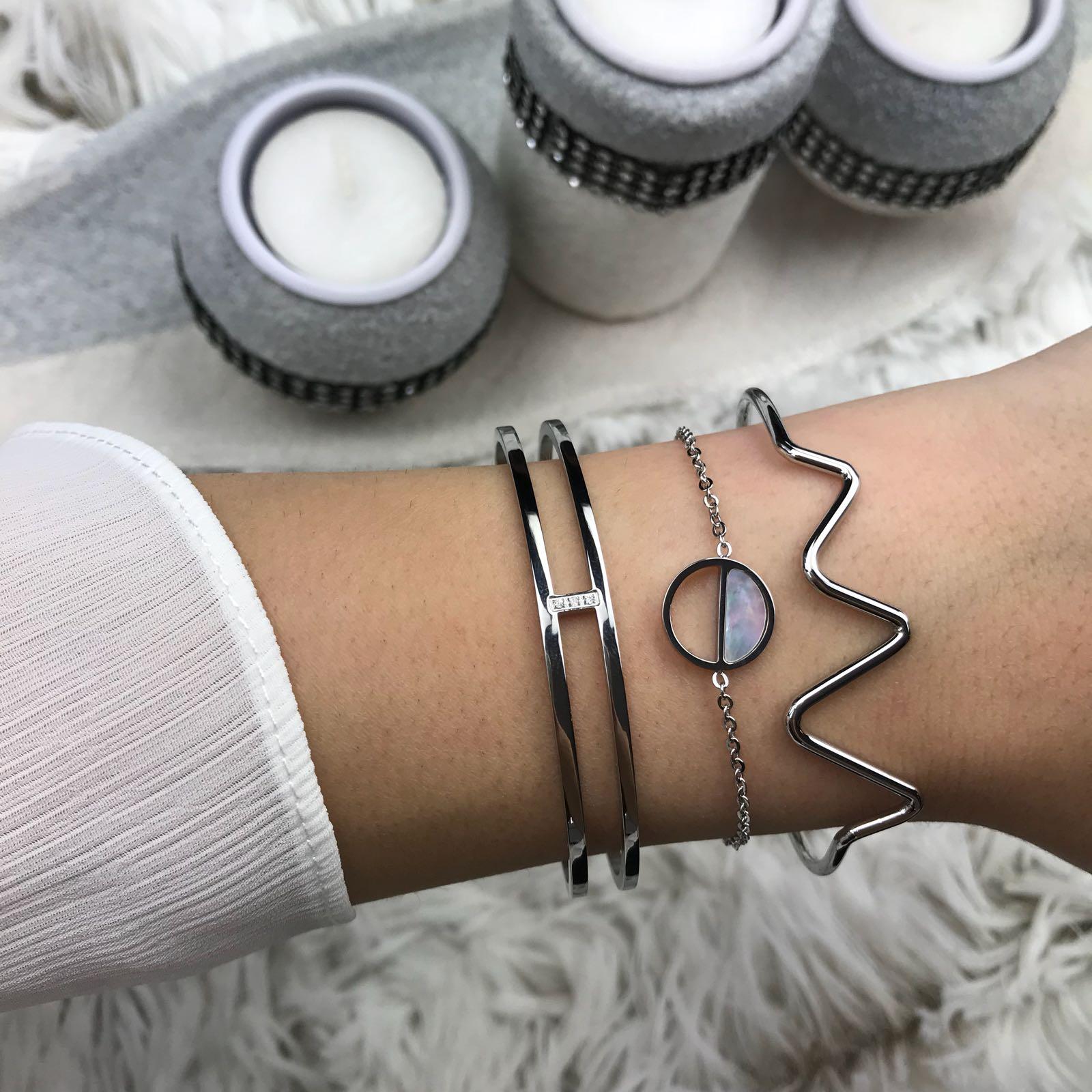 Heartbeat Bracelet Open Silver