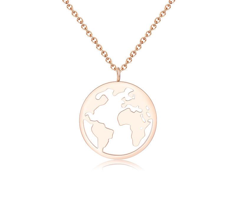 Lange Halskette Welt Rosé Gold