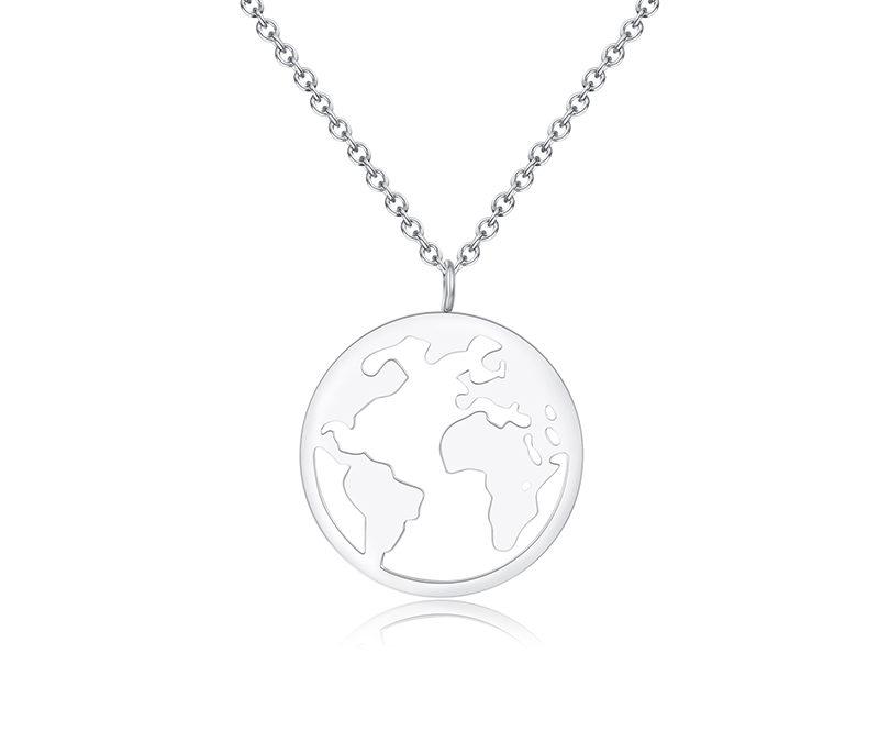 Lange Halskette Welt Silber